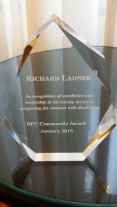 BPC Community Award recognizing Richard Ladner