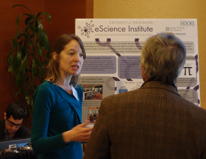 Sarah Stone presents a poster on UW's eScience Institute