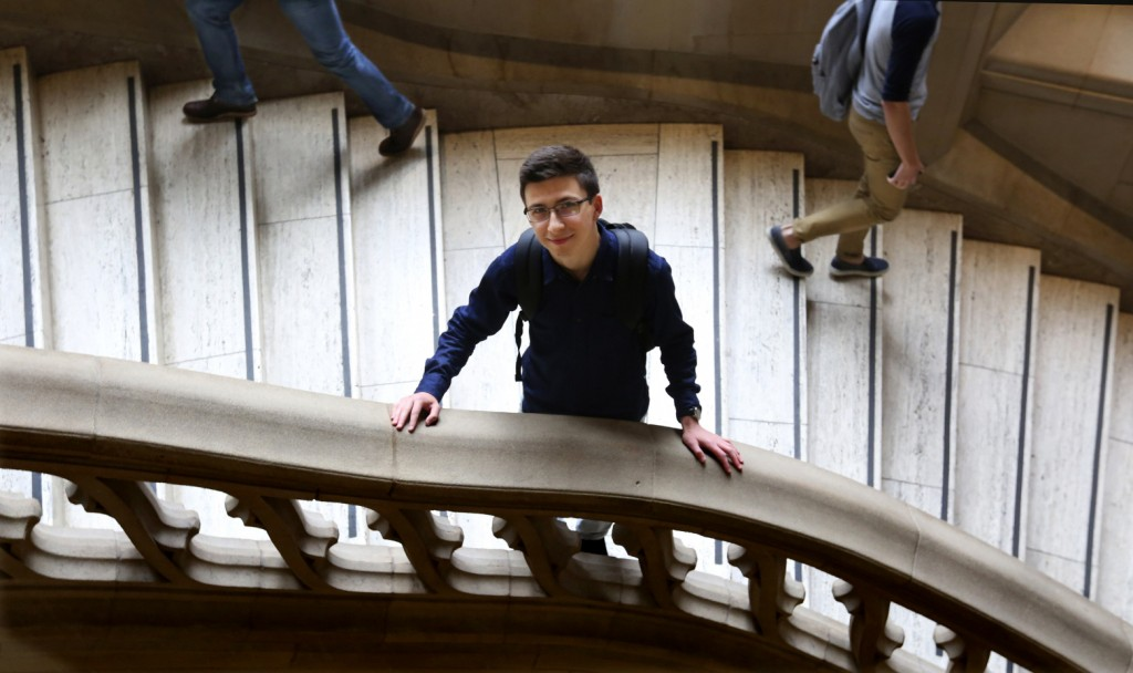 Graduating senior Dan Radion CQ is moving to New York City with his degree in computer engineering and a job.  Wed May 20, 2015   He had five job offers and chose a new company in Manhattan. (on the grand staircase at Suzzalo Library )