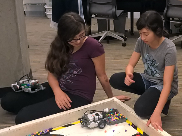 Campers with their robots