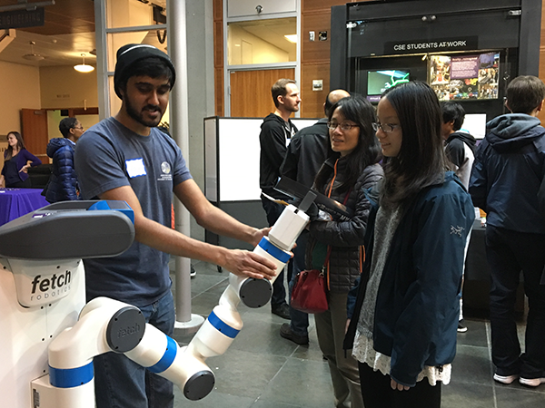 Students and robot at the 2016 Computing Open House