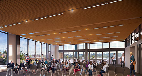Rendering of the Zillow Commons interior