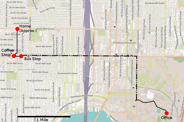 Map of tracked individual's morning commute route