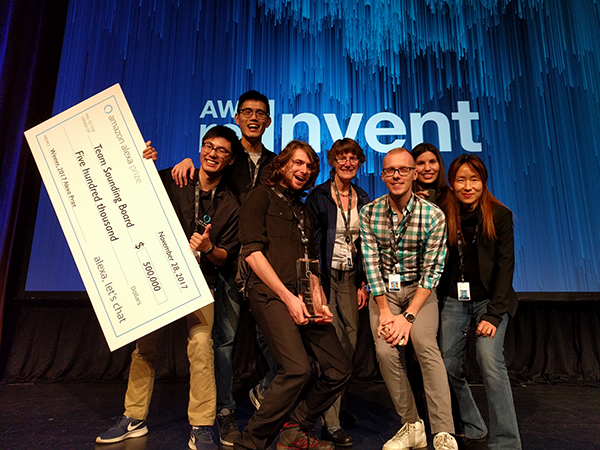 Alexa Prize winners onstage at AWS re:Invent