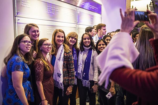 Melinda Gates with students