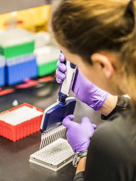 MISL researcher piping synthetic DNA