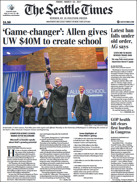 Seattle Times front page depicting Paul Allen firing t-shirt gun