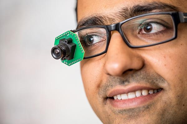 Prototype video camera mounted on eyeglasses