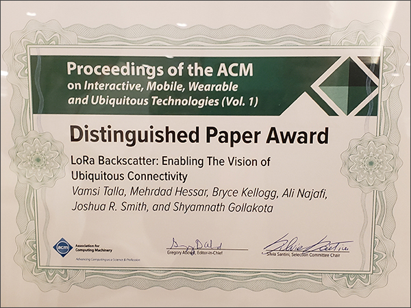 Photo of IMWUT Distinguished Paper Award