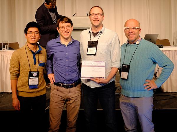Halden Lin, Dominik Moritz, Jeffrey Heer holding Best Paper Award certificate, Niklas Elmqvist