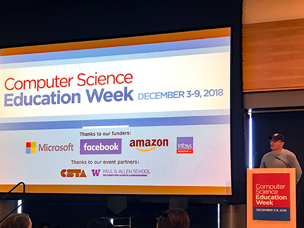 Hadi Partovi onstage to kick off Computer Science Education Week