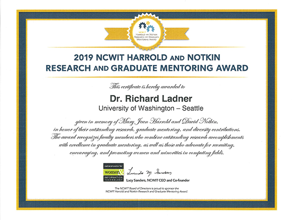 Harrold and Notkin Research and Graduate Mentoring Award certificate recognizing Richard Ladner