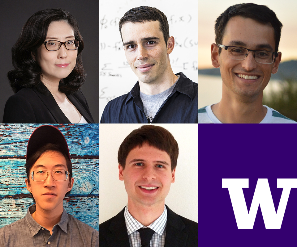 "Portraits of AIMS Lab researchers with white block ""W"" on purple background"