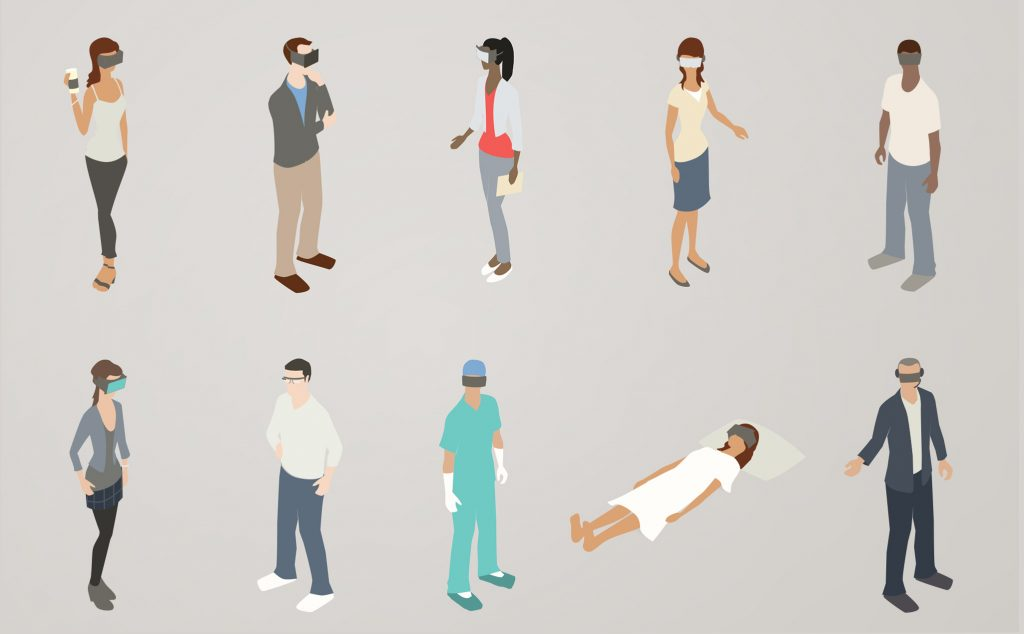 Illustration of people wearing augmented reality headsets