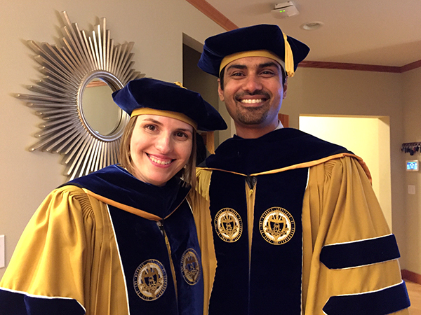 Julie Kientz and Shwetak Patel in Ph.D. regalia