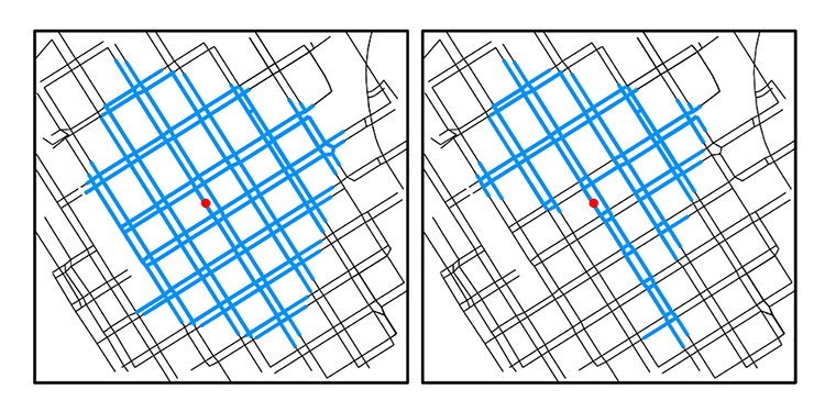 Side-by-side map showing results of walkshed analysis for two pedestrian profiles, color-coded to indicate accessible paths for each. The map on the left has roughly one-third more paths designated accessible compared to the map on the right.