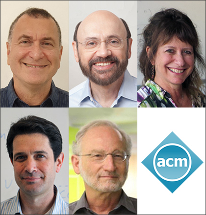 Collage of award recipients' portraits with ACM logo