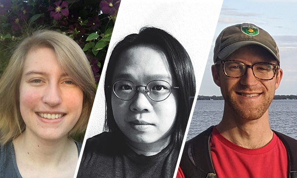 Portraits of Kyrie Dowling, Liang He, and Edward Misback